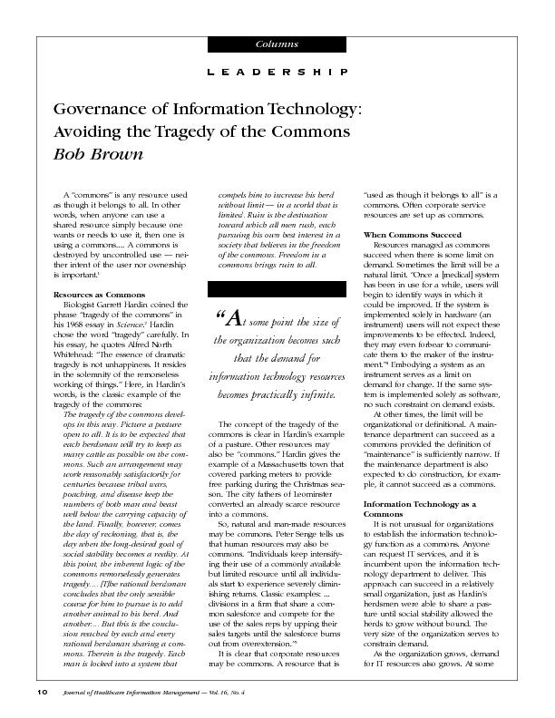 Governance of Information Technology:Avoiding the Tragedy of the Commo