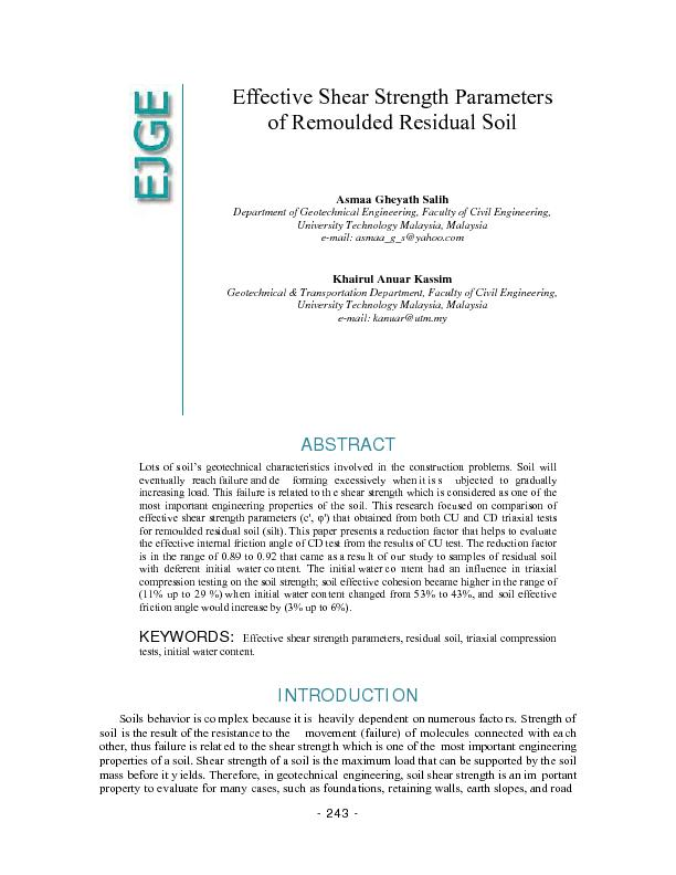Effective shear strength parameters of remoulded residual for Soil quality parameters