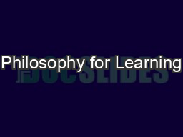 Philosophy for Learning