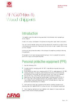 Page  of  AFAGrev Wood chippers Introduction This leaflet covers the safe working practices to be followed when operating a wood chipper