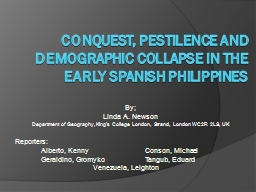 Conquest, pestilence and demographic collapse in the PowerPoint PPT Presentation