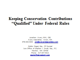 Keeping Conservation Contributions �Qualified� Under Fe