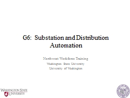 G6: Substation and Distribution Automation