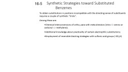 Synthetic Strategies toward Substituted Benzenes