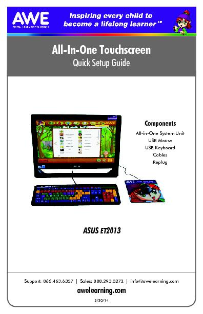 All-In-One TouchscreenQuick Setup GuideSupport: 866.463.6357Sales: 888