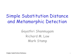 Simple Substitution Distance and Metamorphic Detection PowerPoint PPT Presentation