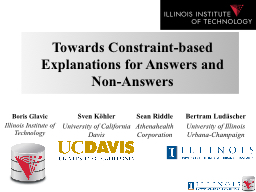 Towards Constraint-based Explanations for Answers and Non-A