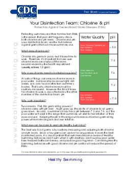 Fact Sheet for pool staffowners Your Disinfection Team Chlorine  pH Protection Against Recreational Water Illnesses RWIs ww