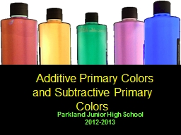 Additive Primary Colors and Subtractive Primary Colors PowerPoint PPT Presentation
