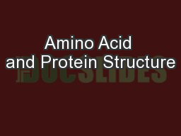 Amino Acid and Protein Structure