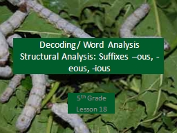 Decoding/ Word Analysis PowerPoint PPT Presentation