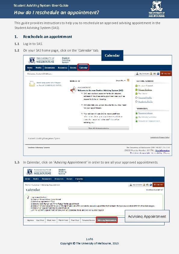 Student Advising System User GuideStudent User Guide Reschedule an app