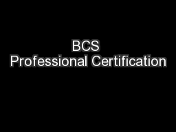 BCS Professional Certification