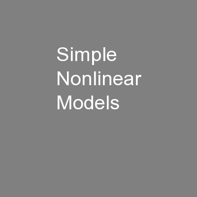 Simple Nonlinear Models
