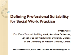 Defining Professional Suitability for Social Work Practice