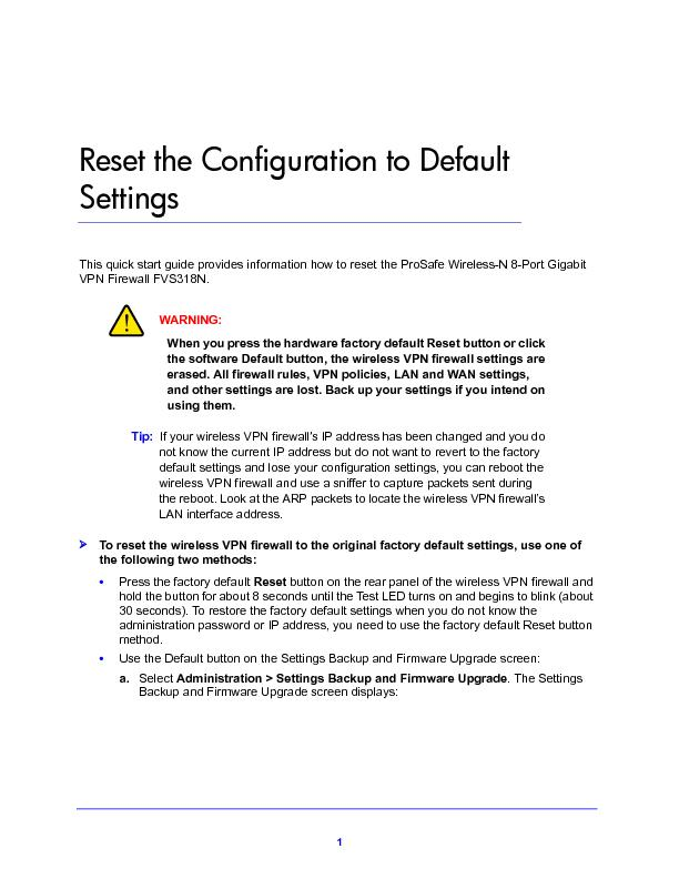 Reset the Configuration to Default