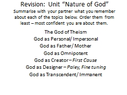 "Revision: Unit ""Nature of God"""