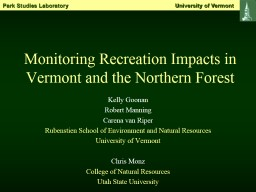 Monitoring Recreation Impacts in Vermont and the Northern F