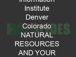 Mineral Information Institute Denver Colorado NATURAL RESOURCES AND YOUR CHRISTMAS TREE