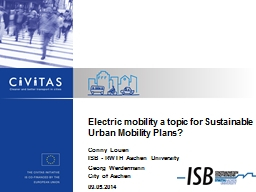 Electric mobility a topic for Sustainable Urban Mobility Pl