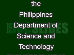 Republic of the Philippines Department of Science and Technology PHILIPPINE ATMO