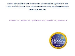 Global Structure of the Inner Solar Wind and it's Dynamic i