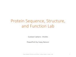 Protein Sequence, Structure, and Function Lab PowerPoint PPT Presentation