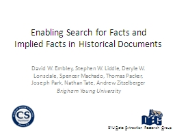 Enabling Search for Facts and PowerPoint PPT Presentation