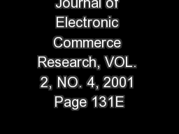 Journal of Electronic Commerce Research, VOL. 2, NO. 4, 2001 Page 131E