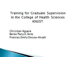 Training for Graduate Supervision PowerPoint PPT Presentation