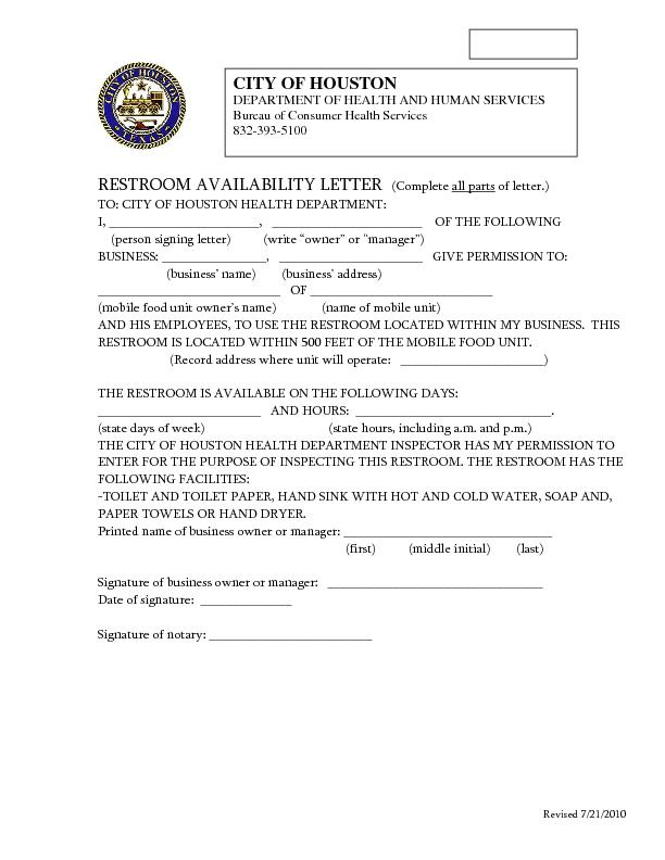 RESTROOM AVAILABILITY LETTER   (Complete all parts