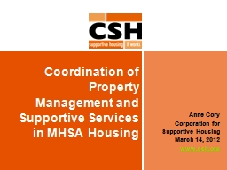 Coordination of Property Management and Supportive Services
