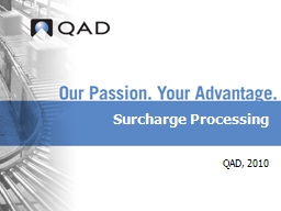 Surcharge Processing