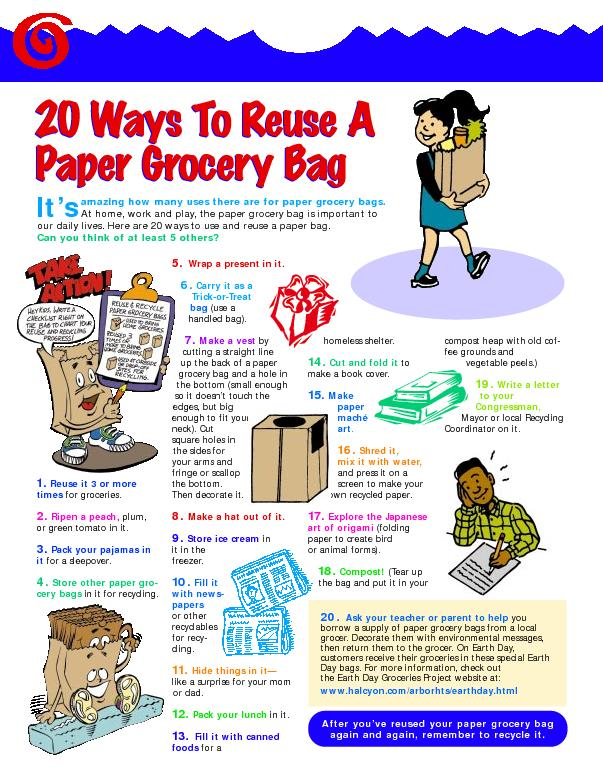 Ask your teacher or parent to helpborrow a supply of paper grocery bag