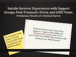 Suicide Survivor Experiences with Support Groups, Post-Trau