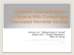 Antibiotic Susceptibilities in Patients With