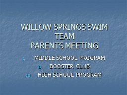 WILLOW SPRINGS SWIM TEAM PowerPoint PPT Presentation