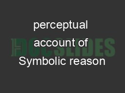 perceptual account of Symbolic reason