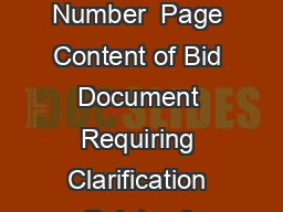 S No Bidding Document References  Section Number  Page Content of Bid Document Requiring Clarification Points of Clarification Clarification of DST