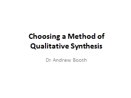Choosing a Method of Qualitative Synthesis