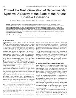 Toward the Next Generation of Recommender Systems A Survey of the StateoftheArt  PDF document - DocSlides
