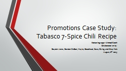Promotions Case Study: PowerPoint PPT Presentation