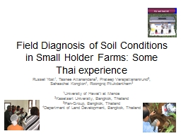 Field Diagnosis of Soil Conditions in Small Holder Farms: S