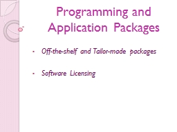 Programming and Application Packages PowerPoint PPT Presentation
