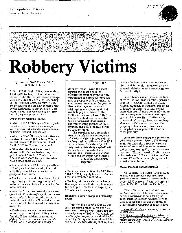 Department of Justice Bureau of Justice Statistics n Robbery Victims b