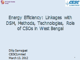 1 Energy Efficiency: Linkages with DSM, Methods, Technologi