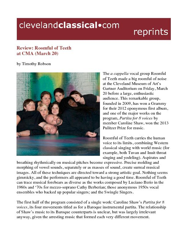Review: Roomful of Teeth at CMA (March 20)by Timothy RobsonThe a cappe