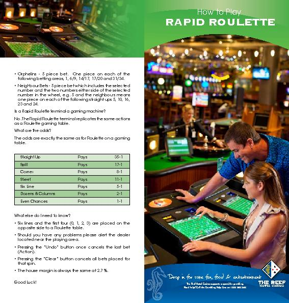 The Reef Hotel Casino supports responsible gambling.