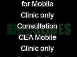Clinical Establishment Act Standards for Mobile Clinic only Consultation CEA Mobile Clinic only Consultation  Page Standard No