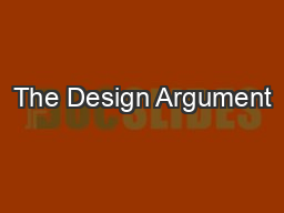 The Design Argument
